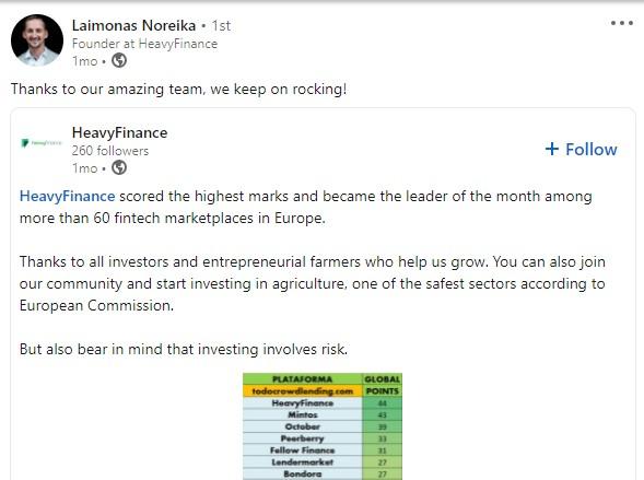 Laimonas Noreika heavyFinance rezultatai